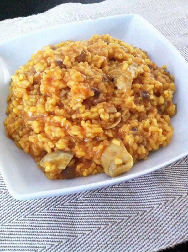 Receta de arroz con alcachofas y setas de cardo