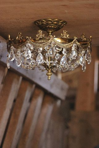 Vintage Brass Basket Chandelier Semi Flush Mount