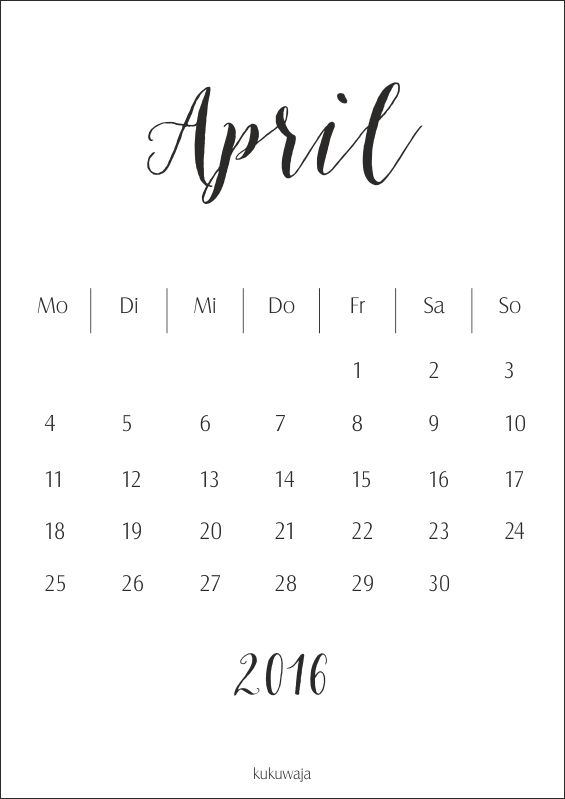 kukuwaja #freebie #download #april2016 #calendar #kalender
