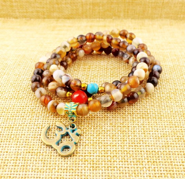 ~108 Mala Natural stone ~ Beads with OM Pendant Necklace ~