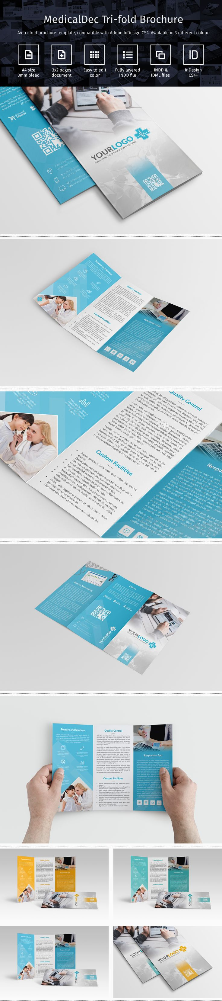 Modern tri-fold brochure template in three different color created with Adobe InDesign CS4. Suitable for medical service brochure such as hospital, clinic, and medical app development [http://goo.gl/iUHSkC].  #adobe #indesign #indd #idml #template #trifold #brochure #print #corporate #medical #hospital #clinic #health #formal #modern #flat #luxury #qrcode #freelogo #professional #business #icon #doctor #patient #a4 #design #colors #green #blue #yellow