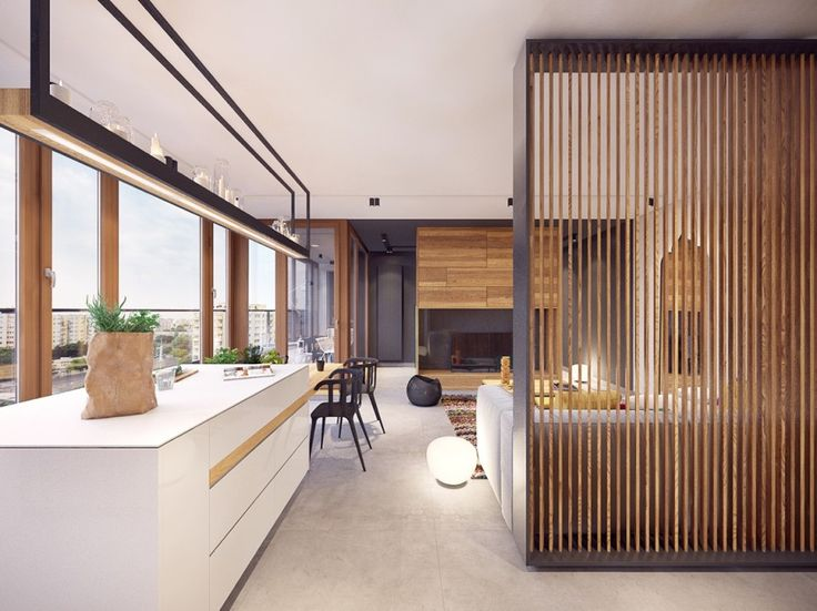 Apartments:Modern And Small Apartment Ideas In Warsaw With White Kitchen Table Wooden Ribs Aslo Kitchen Bar Stools And Glass Windows Also Floating Shelves Also Smooth Light Its Cool Decorating Ideas Remarkable Interior Design Ideas to Modern Apartment in Warsaw, Poland