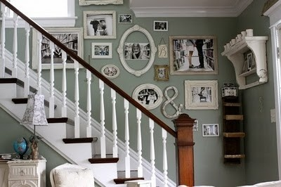 making frames: Decor, Wall Colors, Ideas, Stairs, Galleries Wall, Photo Wall, White Frames, Stairways, Pictures Wall