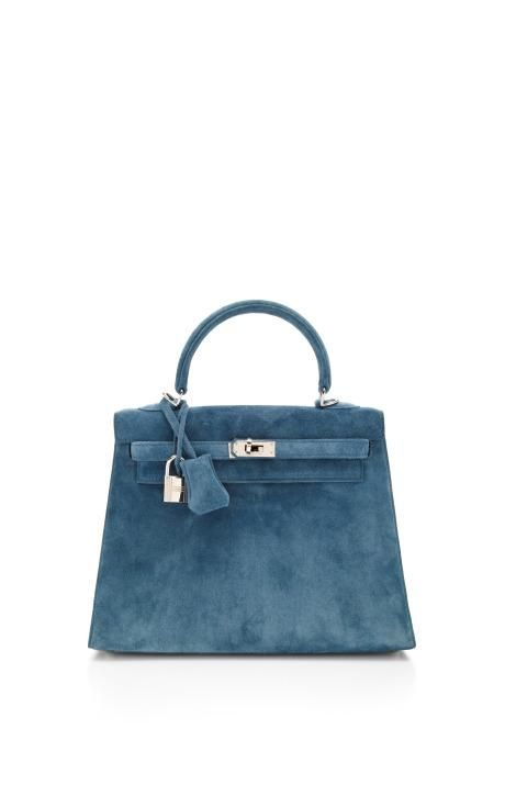 Hermes 25Cm Blue Thalassa Veau Doblis Suede Sellier Kelly by Heritage Auctions Special Collections for Preorder on Moda Operandi