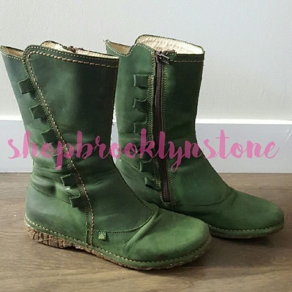 El Naturalista Green Boots-Reduced Price!! Green weatherproof boots with comfy rubber soles and side zipper. Great quality! Cute frog on the metal zipper and rubber soles. I get lots of compliments with these. El Naturalista  Shoes