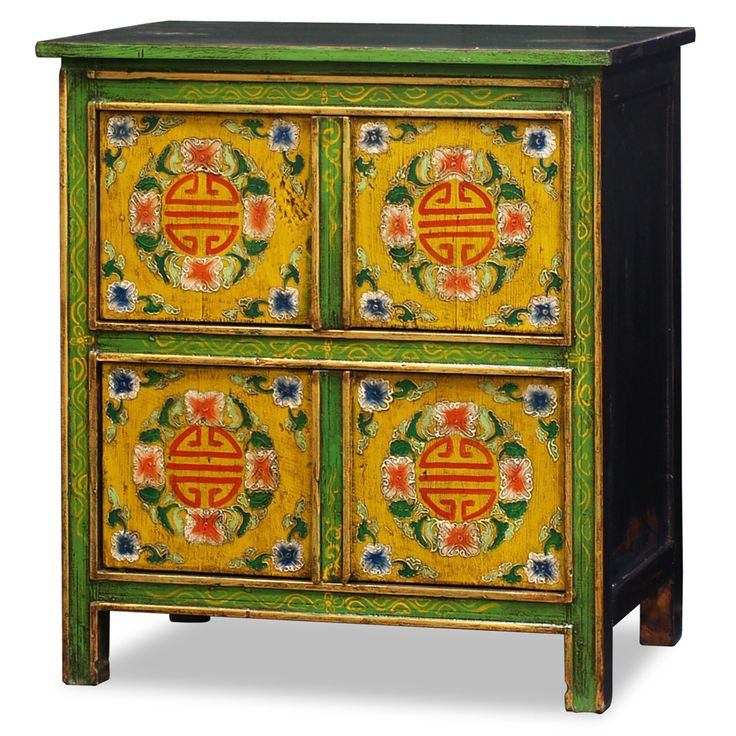 Adopted From Tibetan Art, This Cabinet Is Uniquely Hand Painted With A  Vibrant Floral Motif Design And Long Life Symbols On The Front.