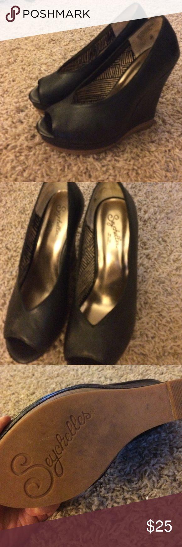 Black leather peep toe wedge Seychelles black leather peep toe wedge. Very comfortable. Like new Seychelles Shoes Heels
