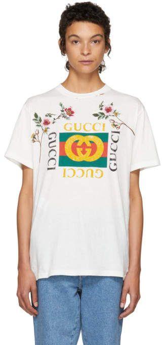 372ec021b32 Gucci White Floral Logo T-Shirt