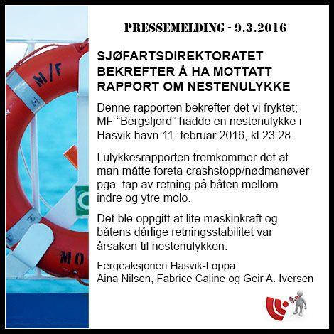 Sjøfartsdirektoratet bekrefter å ha mottatt rapport om nestenulykke, 9. mars 2016 - PRESSEMELDING