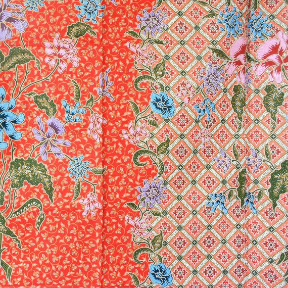 pink and orange print vintage flowers cotton by 18dec on Etsy, $20.00