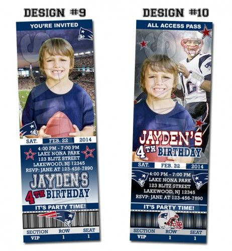 New England Patriots Ticket Birthday party invitations - Printable