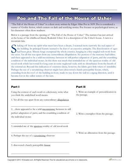 best the fall of the house of usher images edgar allan poe printable activity about the fall of the house of usher