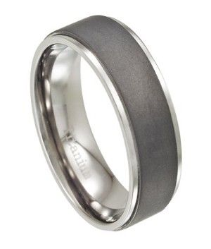 Mens Titanium Wedding Band, Matte Finish with Polished Edges | 8mm