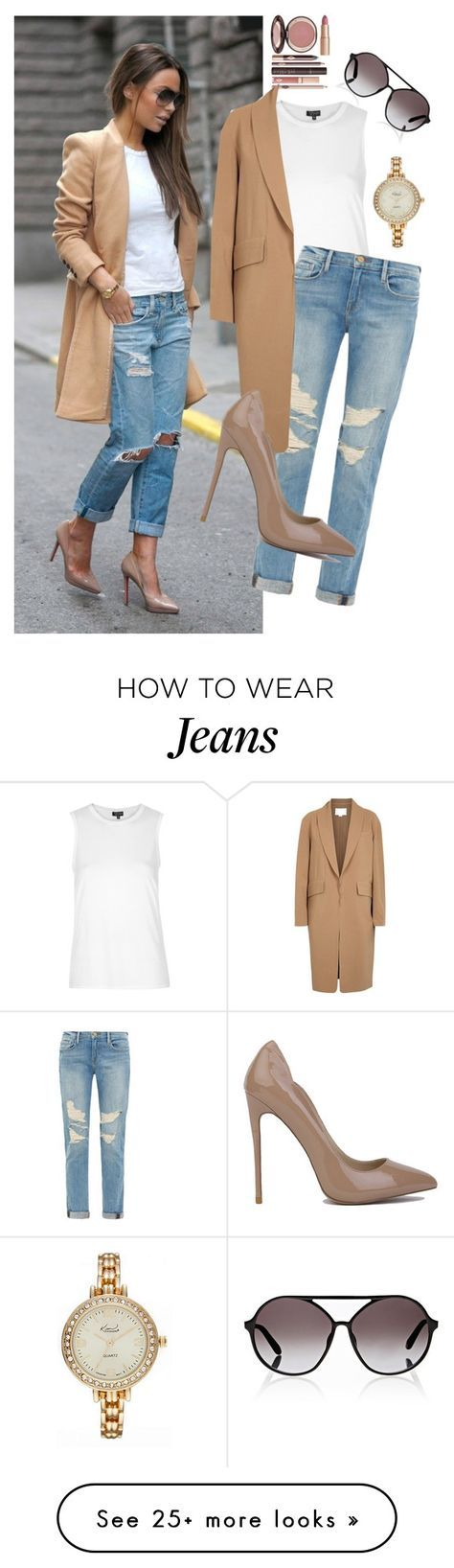 """Boyfriend Jeans Street Look"" by iliketodesign on Polyvore featuring Topshop, Kim Rogers, Charlotte Tilbury, Frame Denim, Alexander Wang, Akira and Valentino"