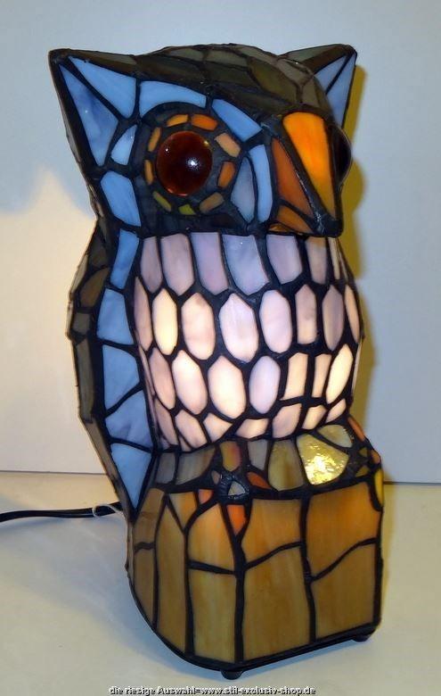 TIFFANY Lampe Als EULE*. ...zu Diesem Preis Nur Noch Sehr Wenige Lieferbar  ! 25x15x15cm.E 14. 40 W. ...modelltypisch Wurde Hier Der Rücken Der  Tierfigur ...
