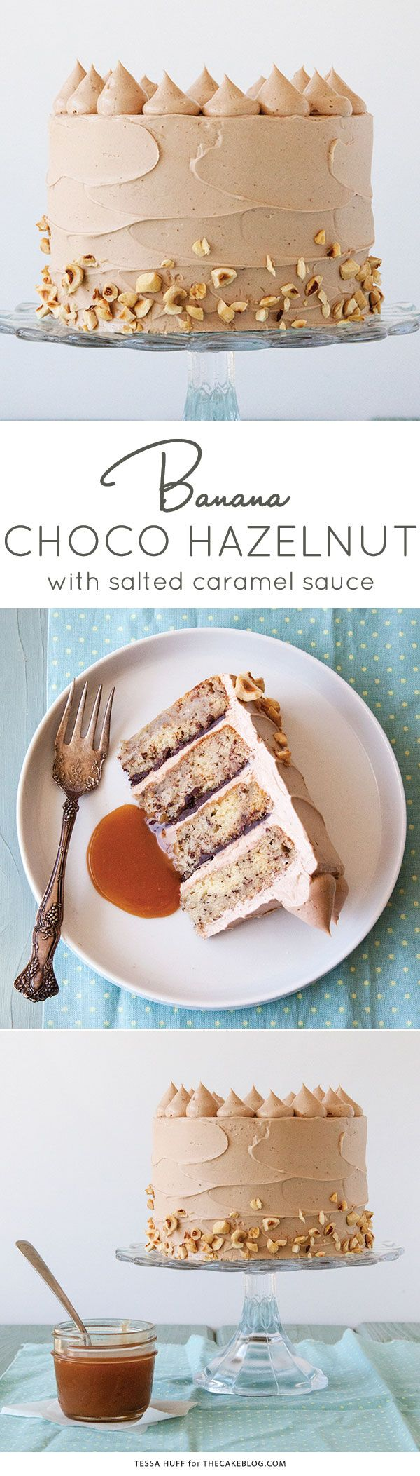 Banana Chocolate Hazelnut Cake | Recipe by Tessa Huff for https://TheCakeBlog.com