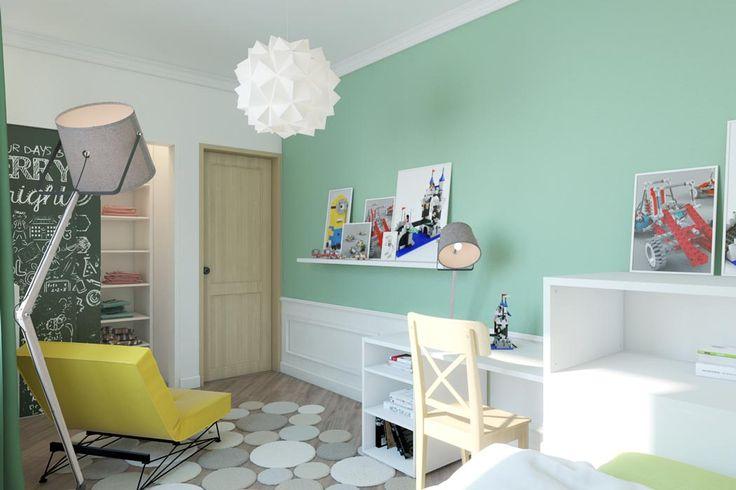 Очень интересная получилась и десткая комната: отдлеьная гардеробная комната, яркие цвета и фотообои, мебель, которая сдвигается и дает много места, полки, которые становятся столиком для твочества - комната-тансформер для настоящего творчества.