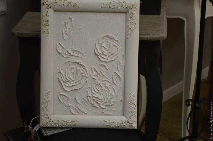 """Купить Картина объемная """"Зефирные розы"""" - белый, розы, декор для дома, декор дома"""