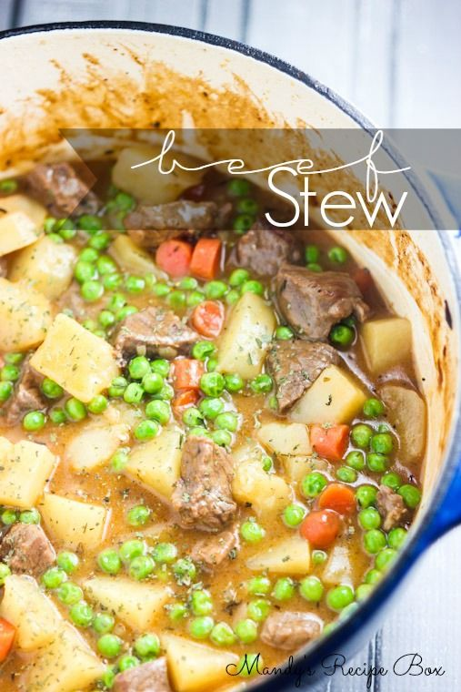 Beef Stew 2 lbs stew meat (Hyvee)  3 Tbsp. oil  1 onion, minced  1 Tbsp. tomato paste  2 garlic cloves  3 Tbsp. all-purpose flour  1 cup beef broth  2 cups chicken broth  1 Tbsp. minced fresh thyme or 1 tsp. dried thyme  2 bay leaves  1 1/2 lbs potatoes  4 carrots  1 cup frozen peas