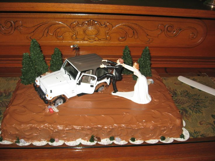 Jeep groom's cake!  This can be fancied up significantly with lots more mud and details... but I love the use of the topper!!  Make the Jeep out of cake or rice krispies??