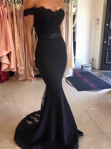 Wishesbridal #Appliques Black Off The Shoulder Court Train Trumpet Mermaid #PromDress Cwb0588