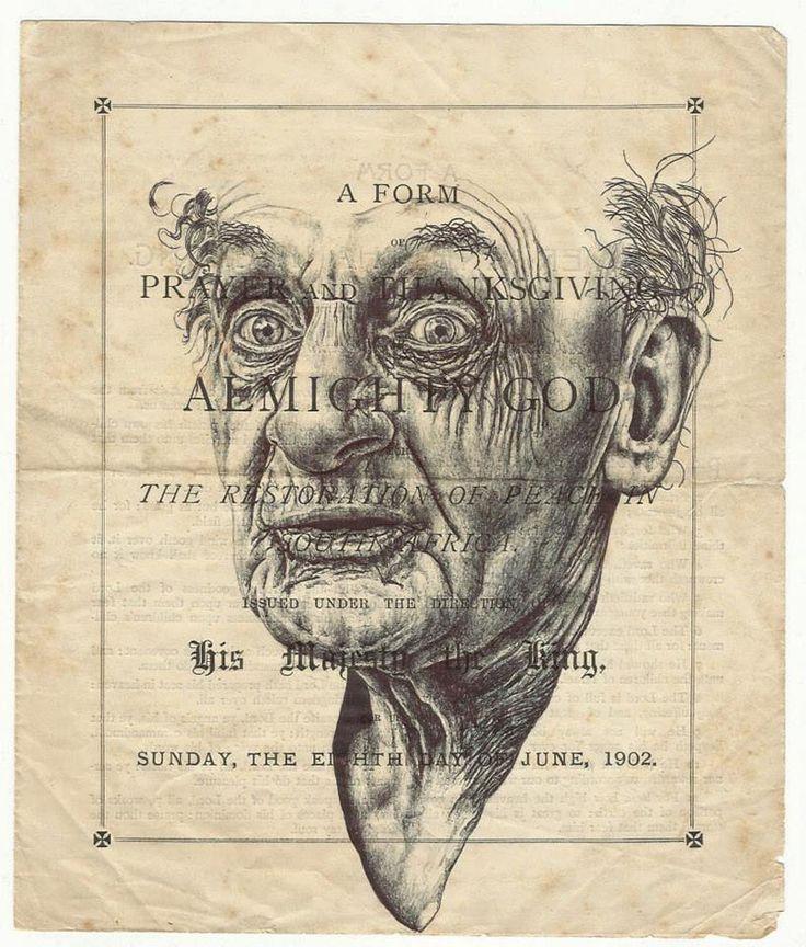 Bic Ballpoint Pen Portraits On Ephemera By Artist Mark Powell
