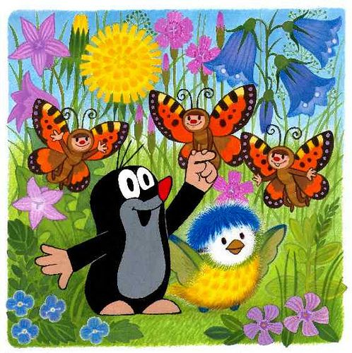 The little mole aka Der kleine Maulwurf with butterflies