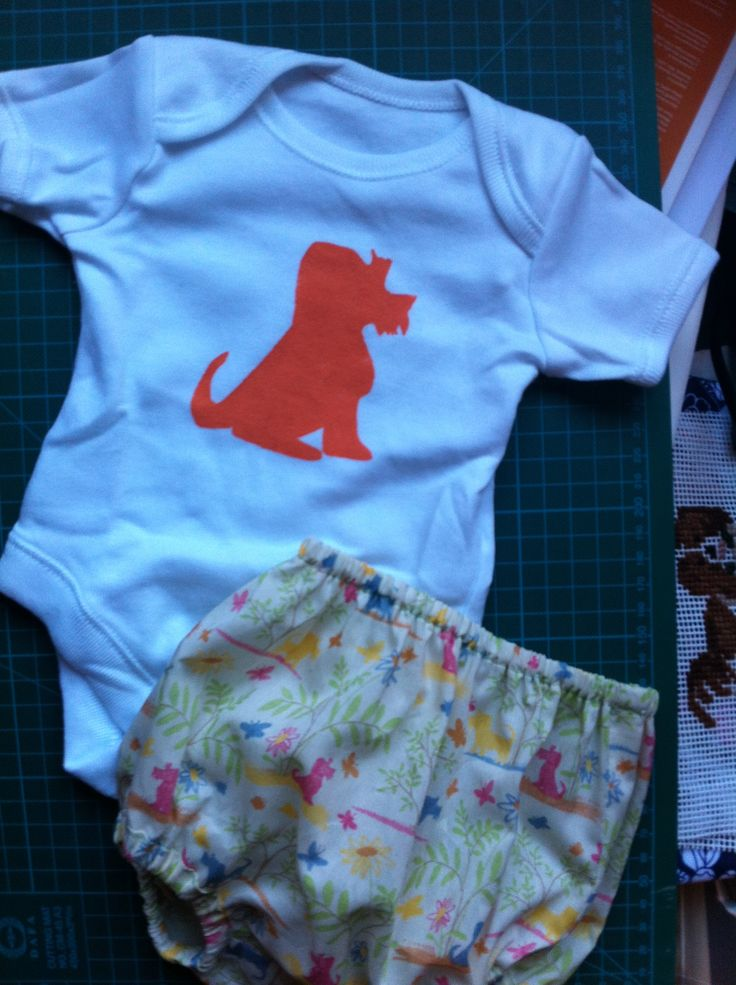 Orange dog painted baby grow to match liberty plum dog print bloomers