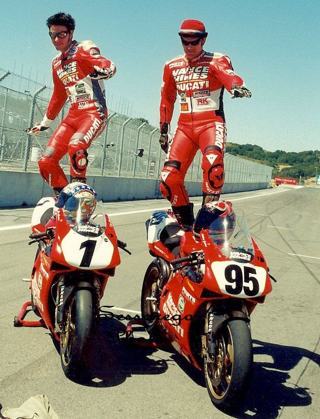 "The ""Dream Team"" - Ben Bostrom & Anthony Gobert. Ducati Vance & Hines AMA 1999"
