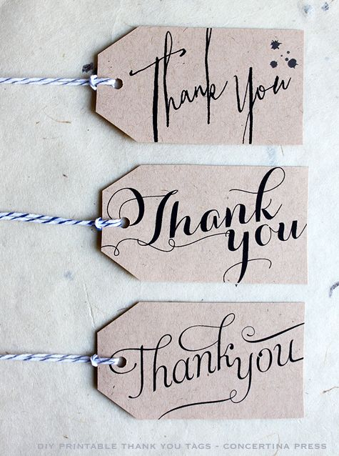 DIY Printable Calligraphy Thank You Wedding Favor or Gift Tags .99 per tag design or 4.99 for six