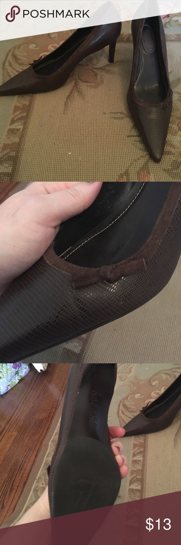 """Ralph Lauren """"Darcy"""" brown bow heels size 8 Gorgeous brown leather heels with dainty suede trimmings and suede now. Only worn a few times but aren't the right size for my mom Lauren Ralph Lauren Shoes Heels"""