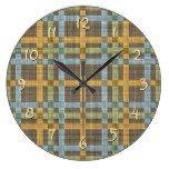 Brown Blue Orange Green Tartan Squares Pattern Large Clock  #blue #Brown+ #Clock #Green #Large #Orange #Pattern #RusticClock #Squares #Tartan The Rustic Clock