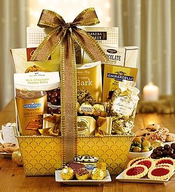 Gilded Splendor Gift Basket from 1-800-Baskets.com.  From the sophisticated basket to sumptuous treats inside, this gift will thrill anyone with discriminating taste and a sweet tooth!  Get your rebate from RebateGiant.