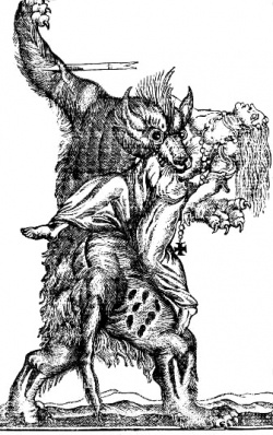 """A werewolf, also known as a lycanthrope (from the Greek λυκάνθρωπος: λύκος, lykos, """"wolf"""", and ἄνθρωπος, anthrōpos, """"man""""), is a mythological or folkloric human with the ability to shapeshift into a wolf or an therianthropic hybrid wolf-like creature, either purposely or after being placed under a curse or affliction (e.g. via a bite or scratch from another werewolf). This transformation is often associated with the appearance of the full moon."""