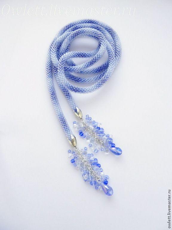 Купить Лариат из бисера Водопад - васильковый, синий, прозрачный, стекло, водопад, лариат из бисера