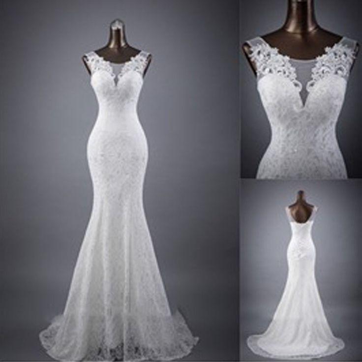 Elegant Sleeveless Mermaid Lace Up Popular Lace Wedding ...