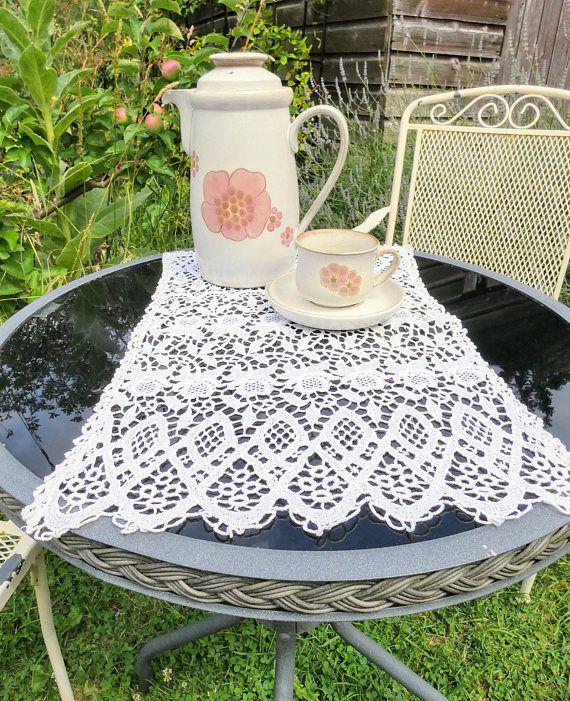 Original Vintage 1800s White Lace Doily Tablemat Victorian