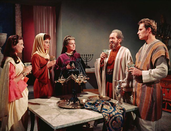 Charlton Heston, Haya Harareet, Sam Jaffe, Cathy O'Donnell, and Martha Scott in Ben-Hur (1959)