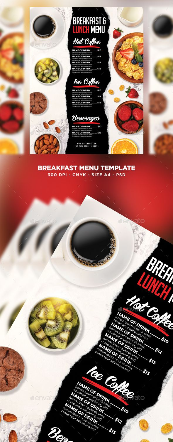 Breakfast Lunch Menu - Food Menus Print Templates