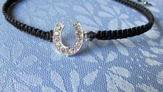 Black Horseshoe Bracelet Equestrian by SimplyBeadifulDesign, $9.00 #horseshoe #horseshoejewlery #horseshoebracelet
