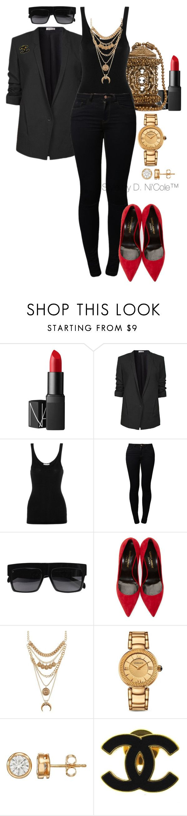 """""""Untitled #3238"""" by stylebydnicole ❤ liked on Polyvore featuring NARS Cosmetics, Helmut Lang, James Perse, Noisy May, Yves Saint Laurent, Charlotte Russe, Versace and Chanel"""