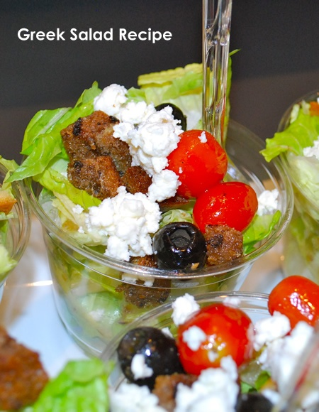 Delicious greek salad with roasted tomatoes, homemade croutons. #lunch #recipe