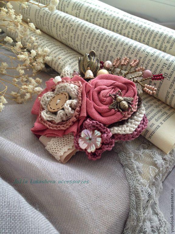 """Купить Брошь -букет """"Пудра роз"""" - бледно-розовый, пыльно-розовый, пыльная роза, брошь"""