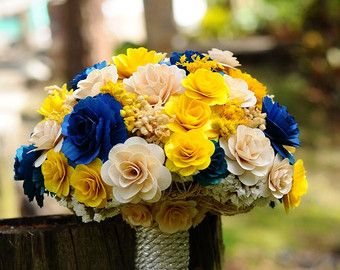 Yellow and Blue wedding bouquet.