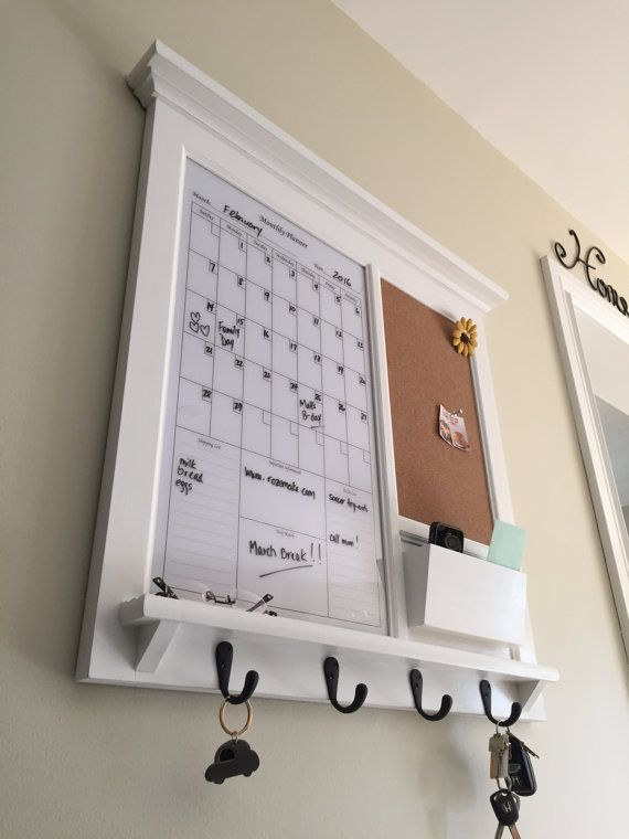 Framed Furniture Dry Erase Perpetual Calendar and Bulletin Board with Mail Pocket Organizer Storage Shelf and Keyhooks