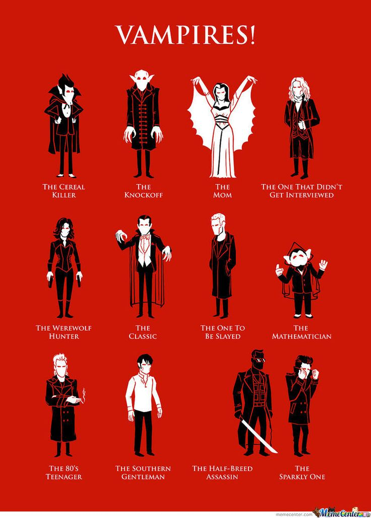 Can you Name them all? . . . . . . . . . . . . .  Count Chocula, Nosferatu, The Mom from the Munsters, The Vampire Lestat, Selene from Underworld, Dracula, Spike from Buffy, The Count from Sesame St, Kiefer Sutherland from Lost Boys, Vampire Bill from True Blood, Wesley Snipes from Blade, and Edward from Twilight.