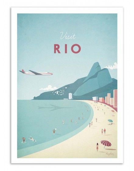 Art-Poster and prints Wall Editions : Visit Rio de Janeiro Brasil, by Henry Rivers. Illustration Format : 50 x 70 cm.