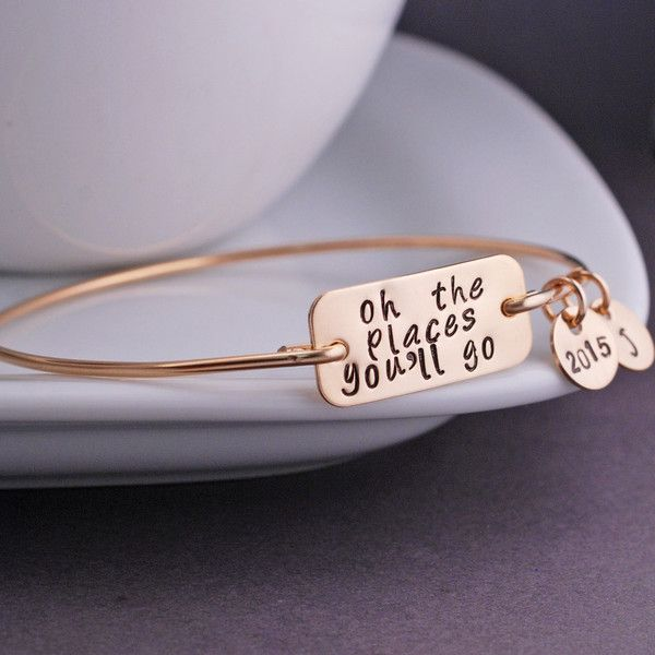 Oh the Places You'll Go Bangle Bracelet - Gold