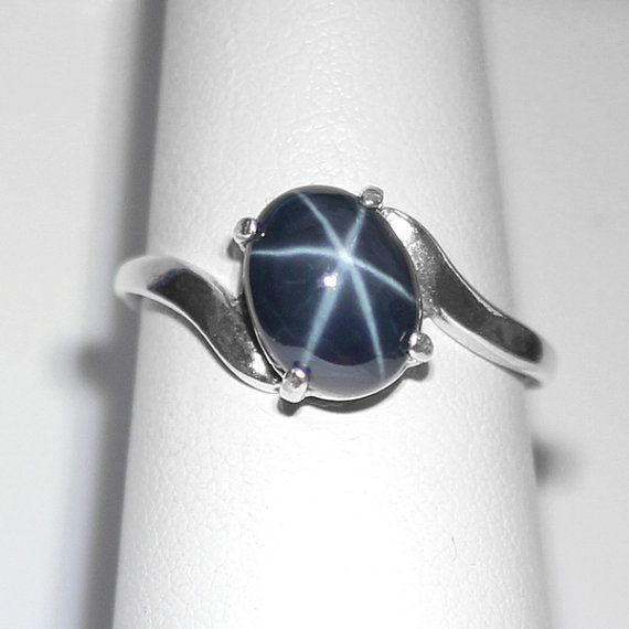 Genuine 2.7ct Blue Star Sapphire Ring Sterling Silver / Star Sapphire Ring Silver FREE RE-SIZING on Etsy, $95.95