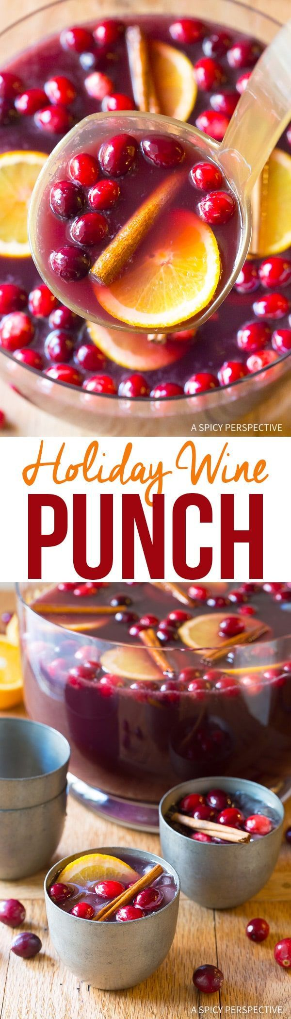 Holiday Wine Punch Cocktails Recipe - This easy 5-ingredient boozy holiday punch makes a huge batch of Christmas or New Year cocktails all your guests will love! via @spicyperspectiv
